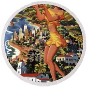 Southern California Vintage Travel 1950's Round Beach Towel