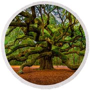 Angel Oak In Charleston Round Beach Towel