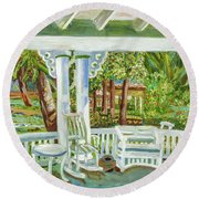 Southern Porches Round Beach Towel