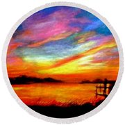 Round Beach Towel featuring the painting Southern Sunset by Gail Kirtz