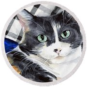 Southpaw - Calico Cat Portrait Round Beach Towel
