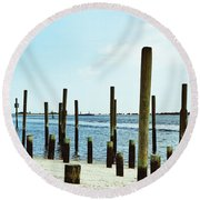 Southport Beach Weathered Wood Round Beach Towel