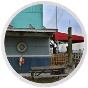 Southport Buoys And Pier Round Beach Towel