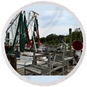Southport Pier Fishing Boats Round Beach Towel