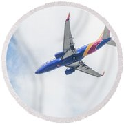 Southwest Airlines With A Heart Round Beach Towel