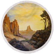 Round Beach Towel featuring the painting Southwest by Alan Lakin
