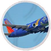 Southwest Boeing 737-7h4 N727sw Nevada One Phoenix Sky Harbor October 14 2017 Round Beach Towel
