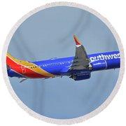 Southwest Boeing 737-8 Max N8708q Phoenix Sky Harbor October 10 2017 Round Beach Towel