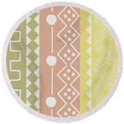 Southwest Decorative Design 6- Art By Linda Woods Round Beach Towel