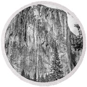 Southwest Face Of El Capitan From Yosemite Valley Round Beach Towel