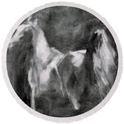 Southwest Horse Sketch Round Beach Towel by Frances Marino