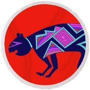 Round Beach Towel featuring the digital art Southwest Mimbres Feline by Vagabond Folk Art - Virginia Vivier