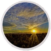 Round Beach Towel featuring the digital art Southwest Sunset Op40 by Mark Myhaver