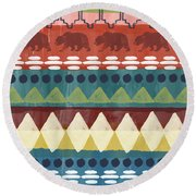 Southwest With Bears- Art By Linda Woods Round Beach Towel
