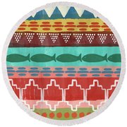 Southwest With Fish- Art By Linda Woods Round Beach Towel