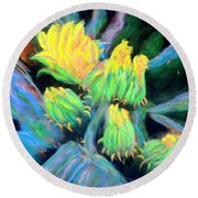 Round Beach Towel featuring the pastel Southwesterly Cactus Impression Of.....sold by Antonia Citrino