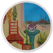 Round Beach Towel featuring the painting Southwestern 6 by Judith Rhue