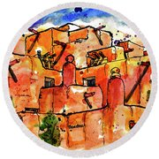 Round Beach Towel featuring the painting Southwestern Architecture by Terry Banderas