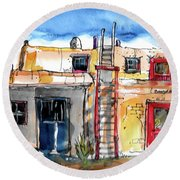 Round Beach Towel featuring the painting Southwestern Home by Terry Banderas