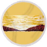 Southwestern Mountain Range Round Beach Towel