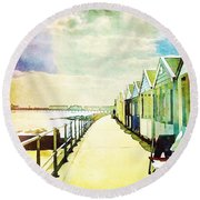 Round Beach Towel featuring the photograph Southwold Beach Huts by Anne Kotan