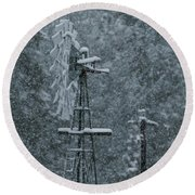 Southworth Windmill Snow Bound Round Beach Towel