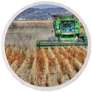 Soybean Harvest Fremont County Iowa Round Beach Towel