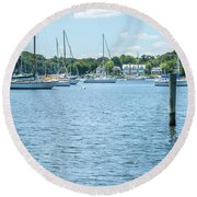 Round Beach Towel featuring the photograph Spa Creek In Blue by Charles Kraus
