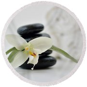 Spa Stones And Flower Round Beach Towel by Serena King