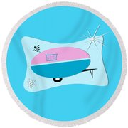 Space Age Camper Round Beach Towel