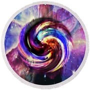 Space And Time Round Beach Towel