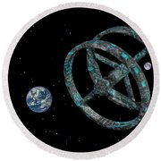 Round Beach Towel featuring the photograph Space Base by Mark Blauhoefer