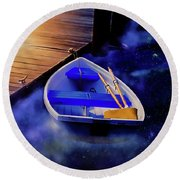 Space Boat Round Beach Towel