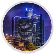 Round Beach Towel featuring the photograph Space Detroit by Nicholas  Grunas