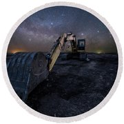Round Beach Towel featuring the photograph Space Excavator  by Aaron J Groen