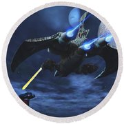 Space Fight Round Beach Towel