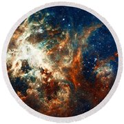 Space Fire Round Beach Towel