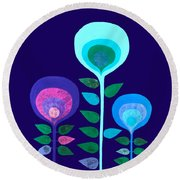 Space Flowers Round Beach Towel