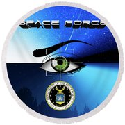 Space Force Round Beach Towel