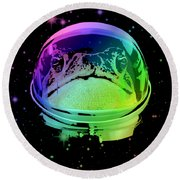 Space Frog Round Beach Towel