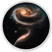 Space Image Galaxy Rose Round Beach Towel