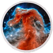 Space Image Horsehead Nebula Orange Red Blue Black Round Beach Towel