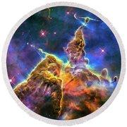 Space Image Mystic Mountain Carina Nebula Round Beach Towel by Matthias Hauser