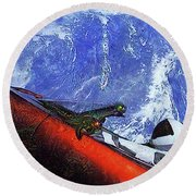 Space Meeting At Tesla Round Beach Towel