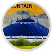 Space Mountain Round Beach Towel by David Lee Thompson