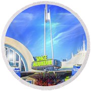 Space Mountain Entrance Panorama Round Beach Towel