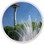 Space Needle In Seattle Round Beach Towel