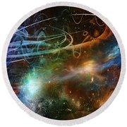 Round Beach Towel featuring the digital art Space Time Continuum by Linda Sannuti