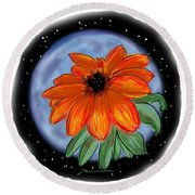 Round Beach Towel featuring the painting Space Zinnia by Jean Pacheco Ravinski