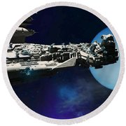 Spaceship To Neptune Round Beach Towel